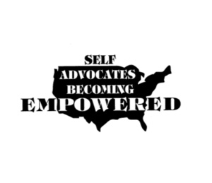 The SABE Logo - A silhoutte of the United States with the words Self Advocates Becoming Empowered across the silhouette.