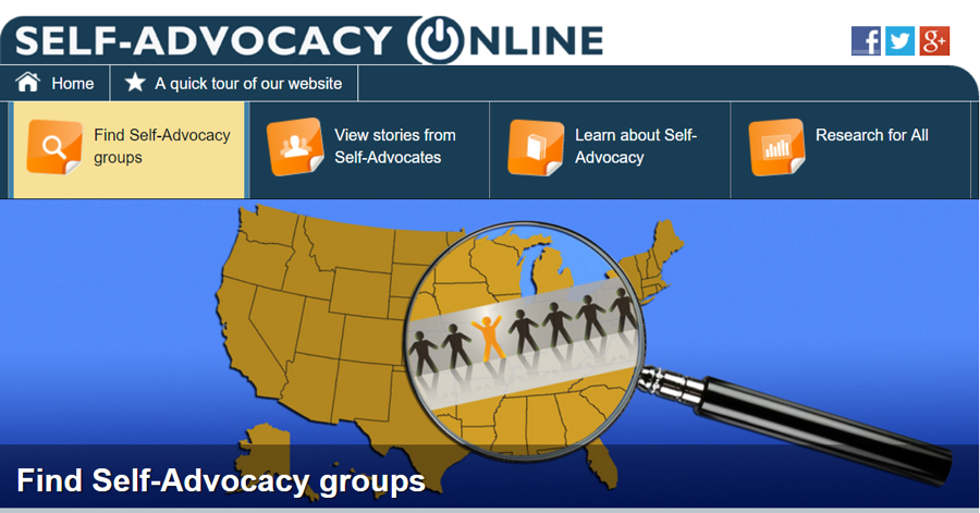 Photo of the home page for the Self-Advocacy Online website.