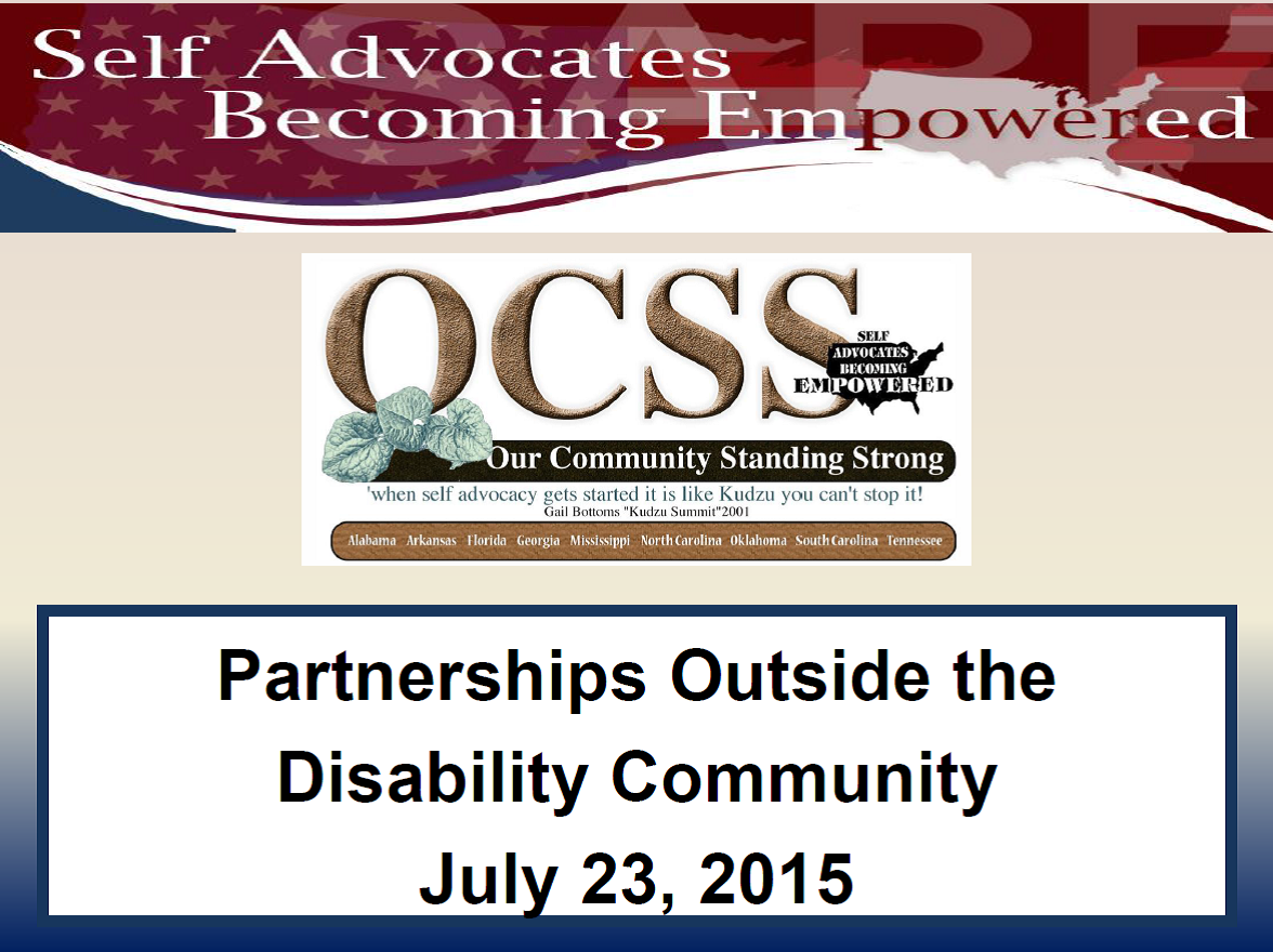 Front Cover of Partnerships Outside the Disability Community Powerpoint
