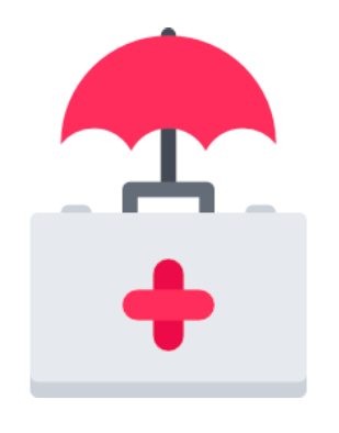 A first aid kit with a red umbrella attached to it.